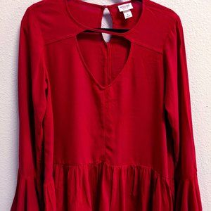 Womens red bell sleeve top Size S